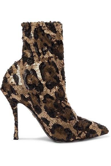 Dolce & Gabbana   Sequined stretch-knit sock boots   NET-A-PORTER.COM