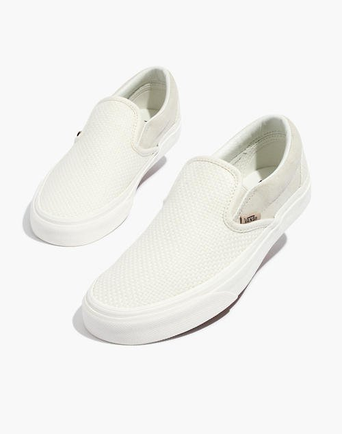 Vans® Unisex Classic Slip-On Sneakers in White Suede and Canvas