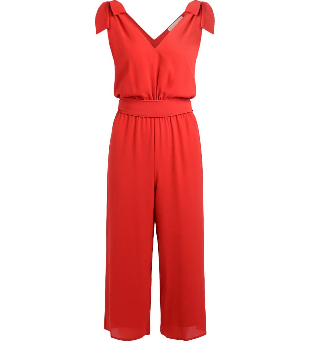Michael Kors Red V Neck Jumpsuit