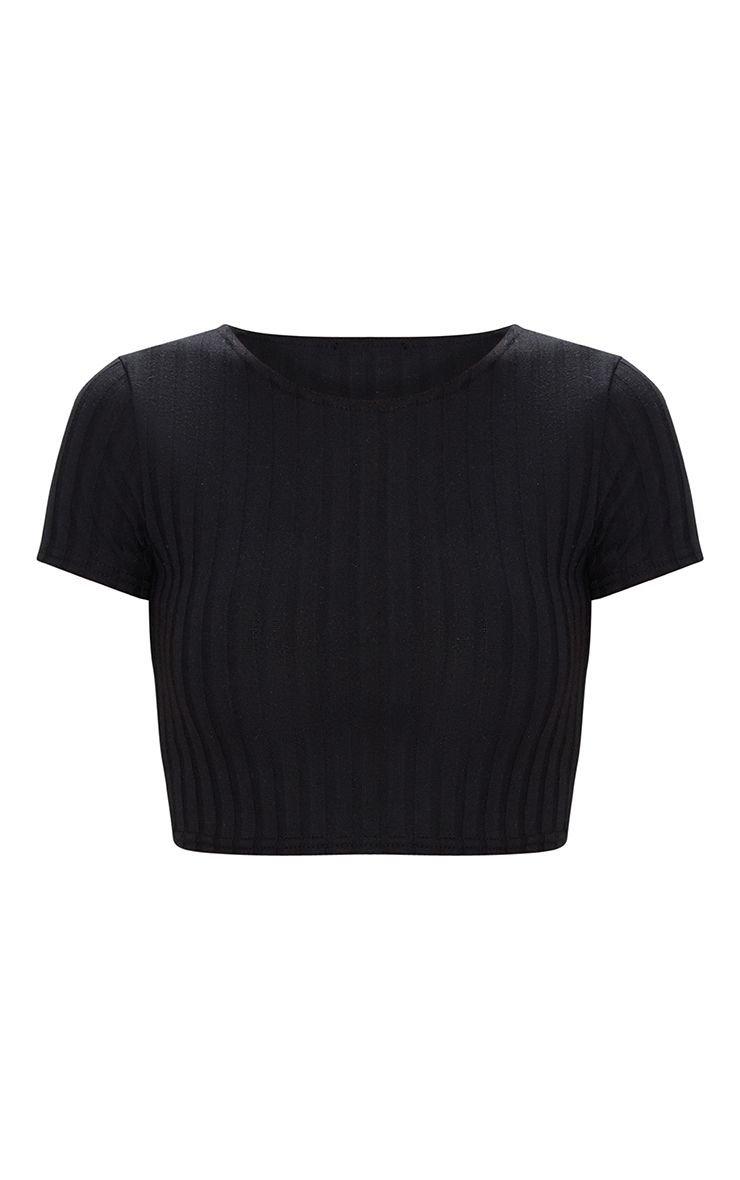 Black Rib Knit Crop T Shirt   PrettyLittleThing
