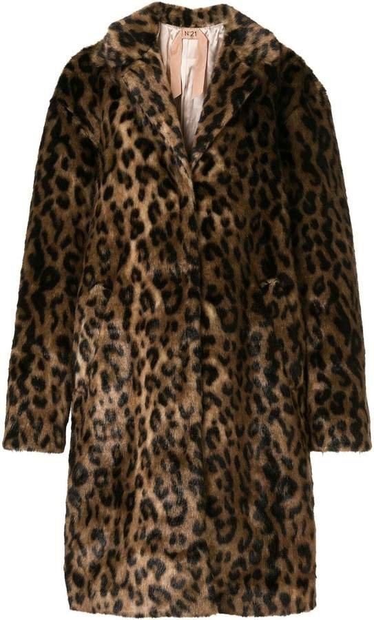 oversized leopard print coat