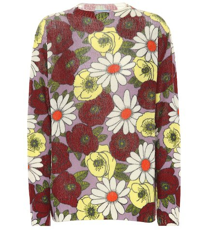 Floral-printed wool sweater