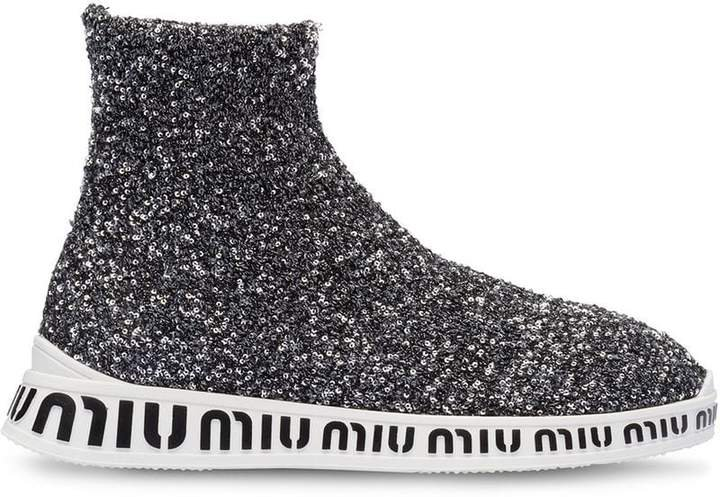 sequinned hi-top sneakers