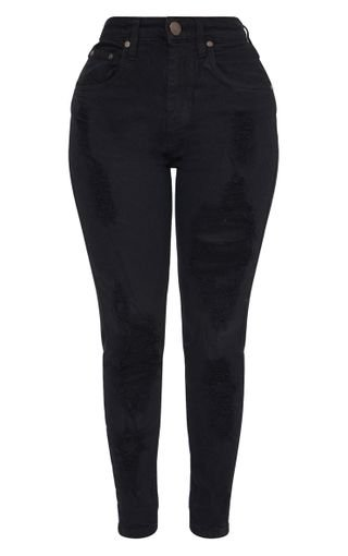 Shape Black Extreme Rip Skinny Jeans | PrettyLittleThing