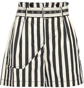 Belted Striped Cotton-canvas Shorts