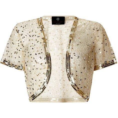 Ariella Vera Sequin and Bead Bolero, Gold found on Polyvore featuring polyvore, fashion, clothing, outerwear, jackets, bolero, plus size… | michael ann | Gold …
