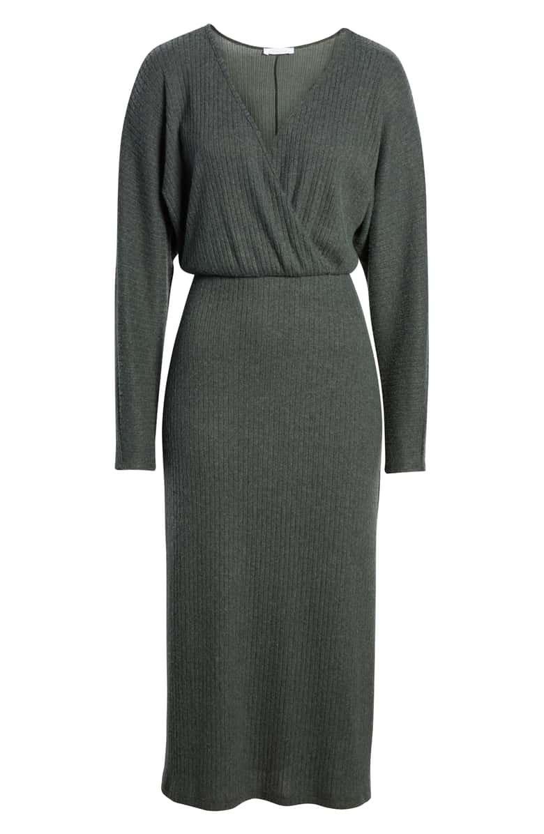 All in Favor Cozy Ribbed Midi Dress | Nordstrom