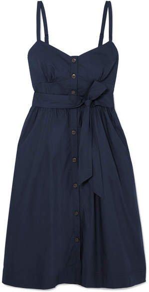 Rossini Belted Cotton-poplin Dress - Navy