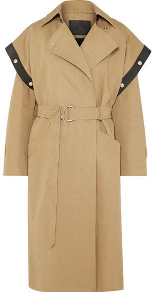 Belted Leather-trimmed Cotton And Linen-blend Trench Coat - Beige