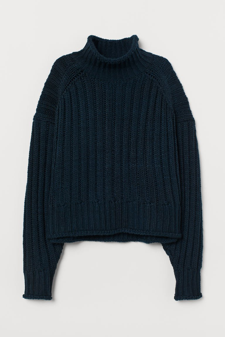 Rib-knit Turtleneck Sweater - Dark blue - Ladies | H&M US