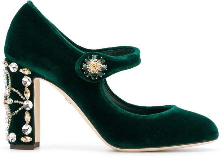 velvet Mary Jane pumps