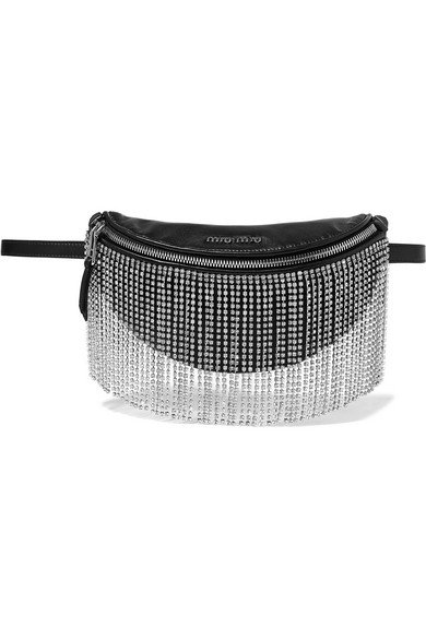 Miu Miu | London Night crystal-embellished matelassé leather belt bag | NET-A-PORTER.COM