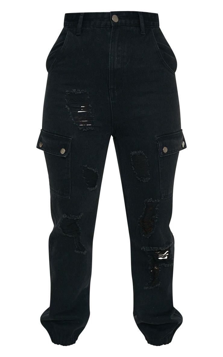 Black Distressed Cargo Pocket Jeans | Denim | PrettyLittleThing