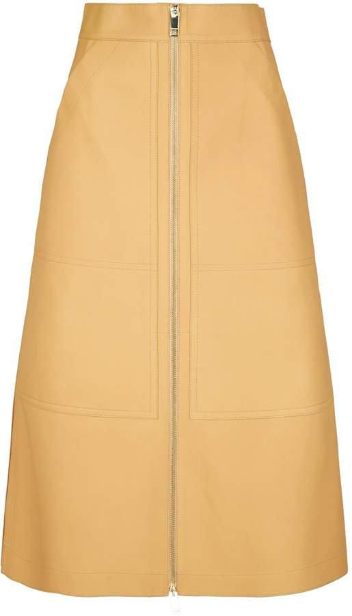 Lamb Leather Midi Skirt