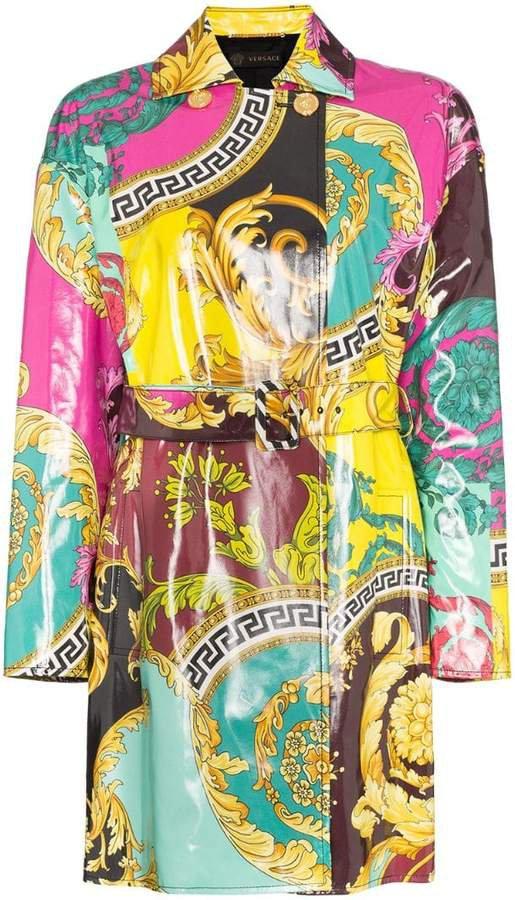 Baroque print mac coat