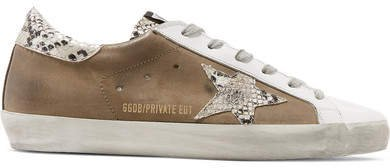 Superstar Distressed Leather And Suede Sneakers - Taupe