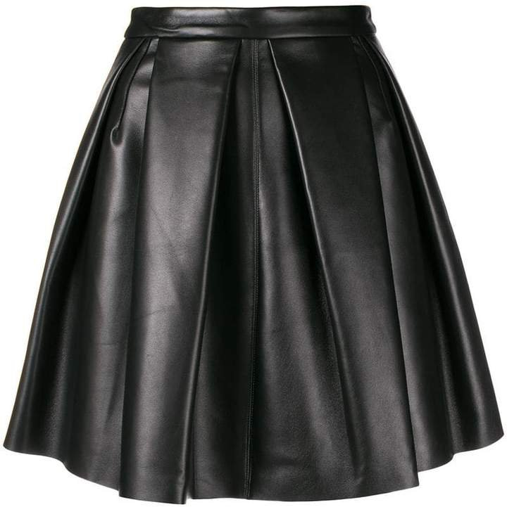 pleated full leather skirt