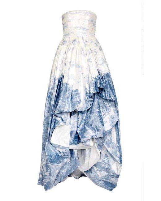 oscar de la renta hi low strapless gown