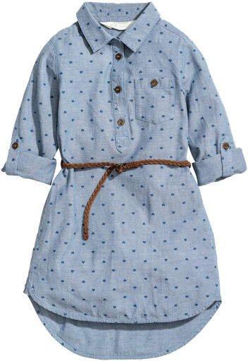 Shirt Dress with Belt - Blue