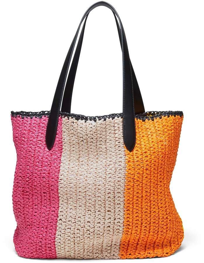 Rainbow Straw Tote Bag