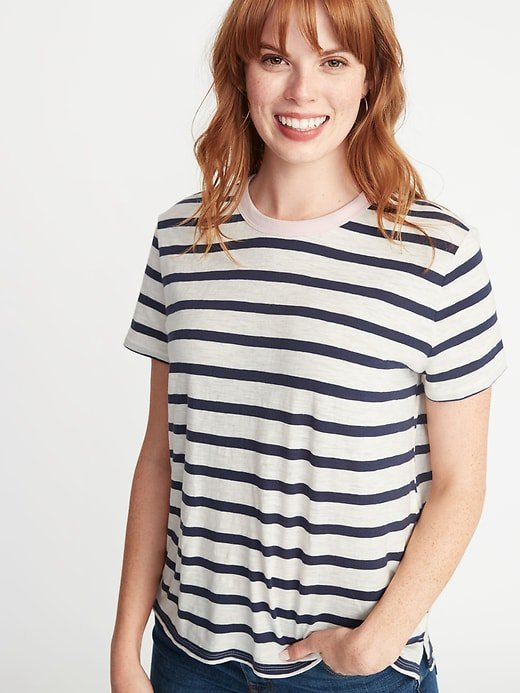 Striped Boyfriend Ringer Tee for Women | Old Navy