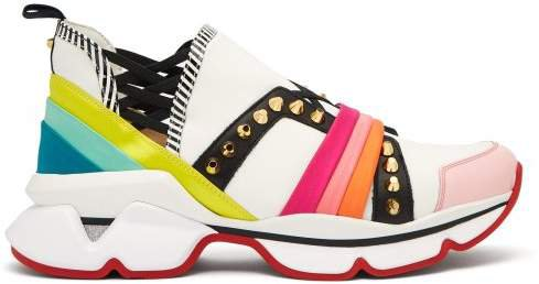 123 Run Studded Low Top Trainers - Womens - White Multi