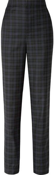 Sebastian Checked Wool-blend Twill Straight-leg Pants - Black