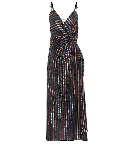Striped jacquard wrap dress