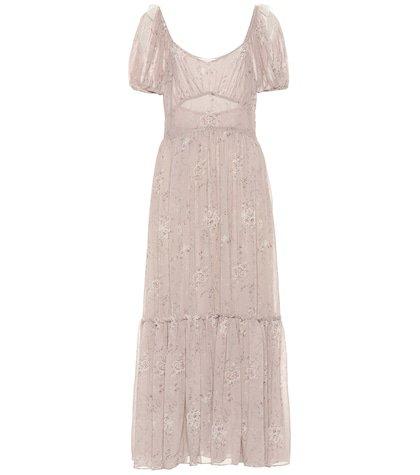 Angie floral silk maxi dress