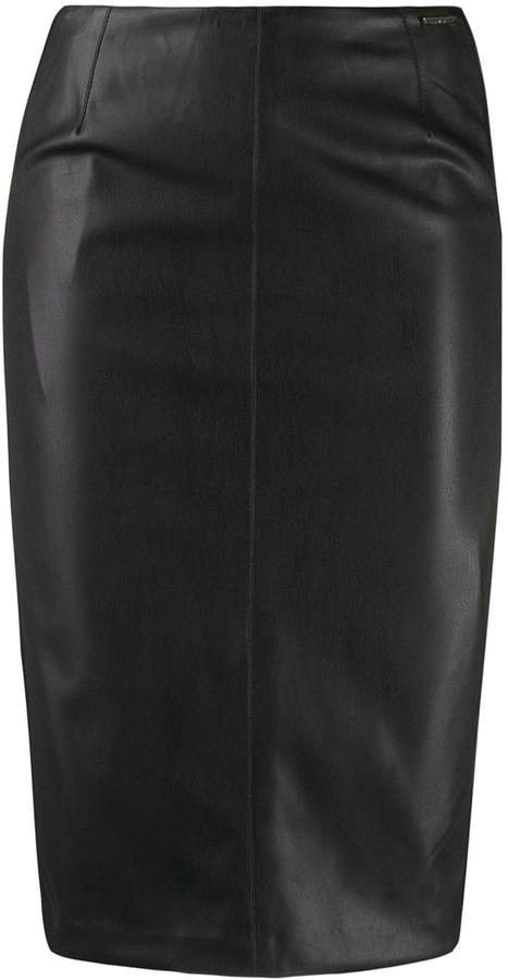 fitted panelled pencil skirt