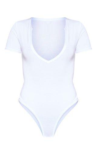 Basic White Plunge Short Sleeve Bodysuit | PrettyLittleThing