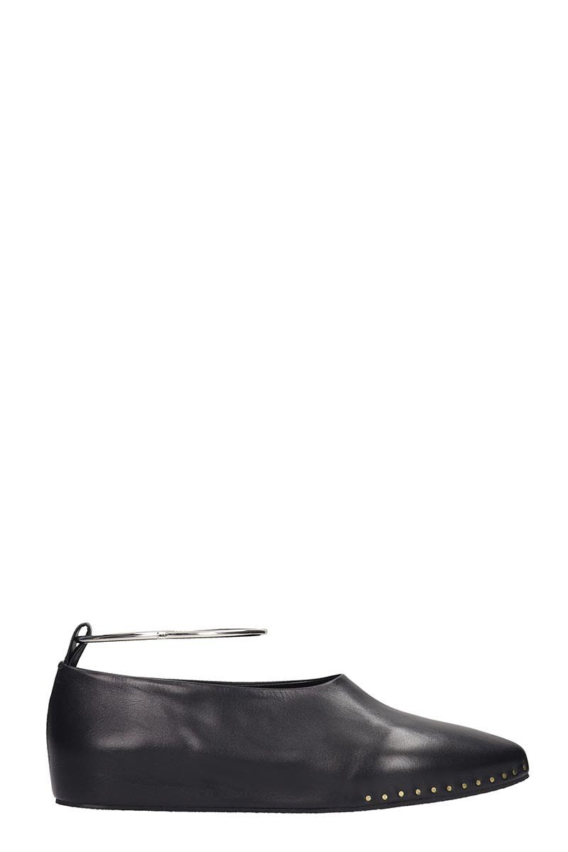 Jil Sander Ballet Flats In Black Leather