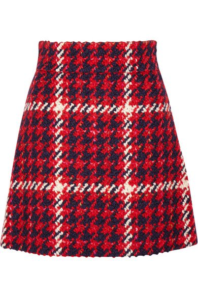 Miu Miu | Houndstooth tweed mini skirt