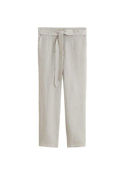 MANGO Striped linen-blend trousers