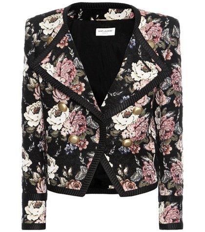 Wool-blend jacquard cropped jacket