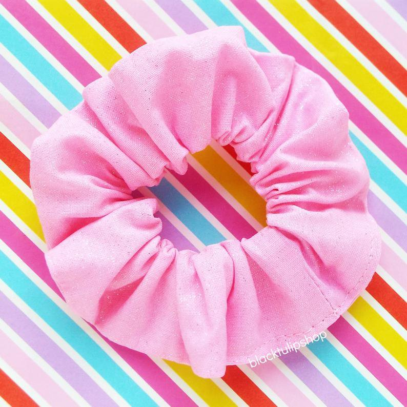 2pc Hair Scrunchies Set Glitter Fabric Pastel Pink Aqua   Etsy