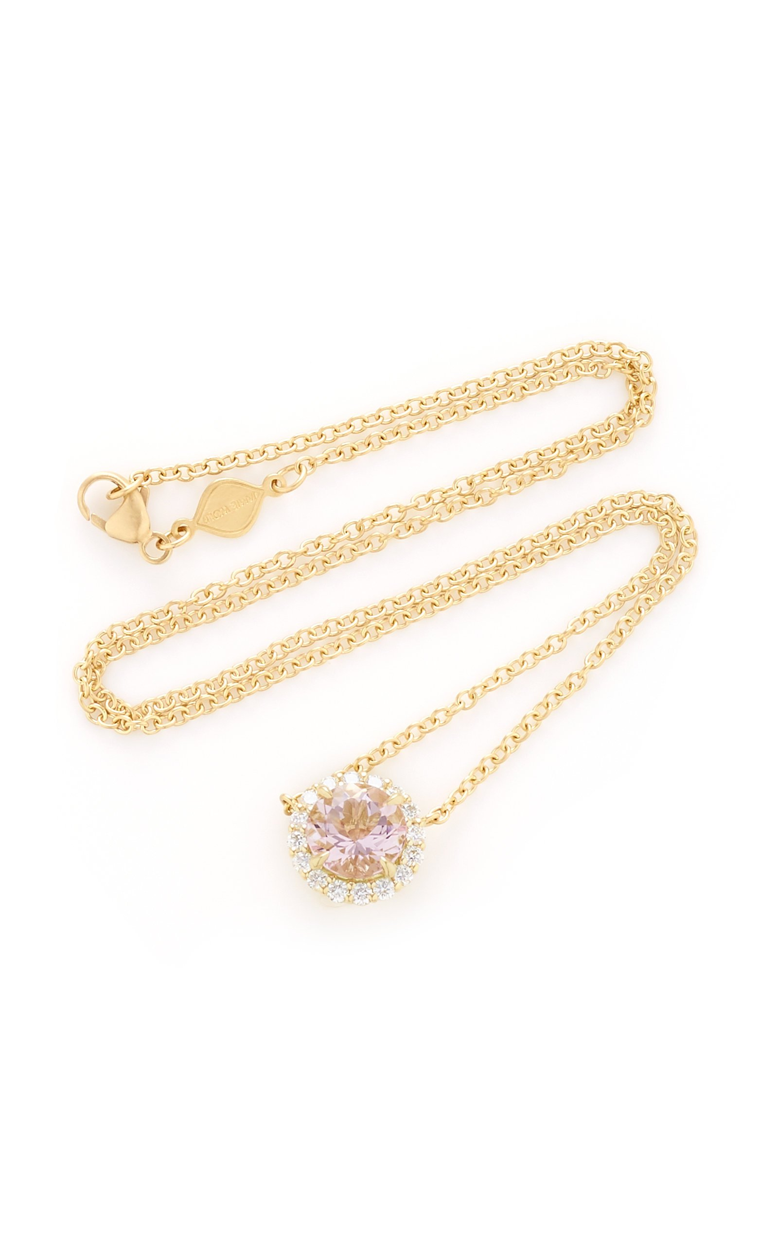 Jamie Wolf 18K Yellow Gold Diamond Edge Morganite Necklace