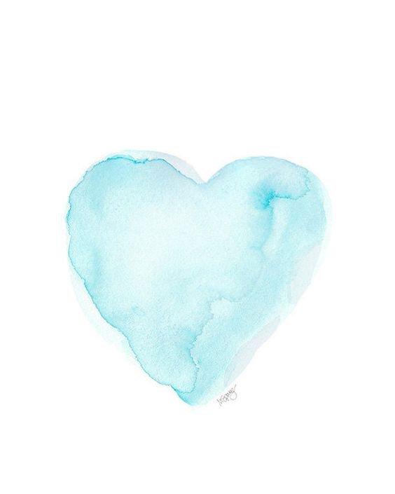 Aqua Watercolor Heart