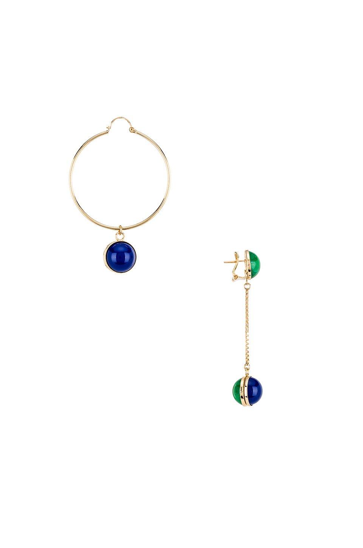 Asymmetric Long Sphere Earring & Hoop