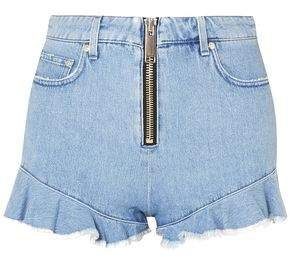 Zip-detailed Ruffle-trimmed Denim Shorts