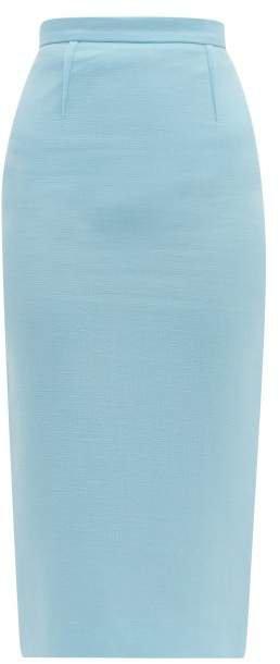 Arreton Wool Crepe Pencil Skirt - Womens - Light Blue