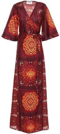 Heart Printed Silk Maxi Wrap Dress