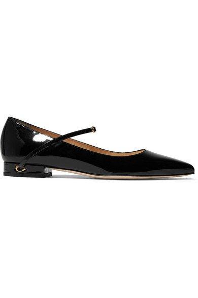 Jennifer Chamandi | Lorenzo patent-leather point-toe flats | NET-A-PORTER.COM