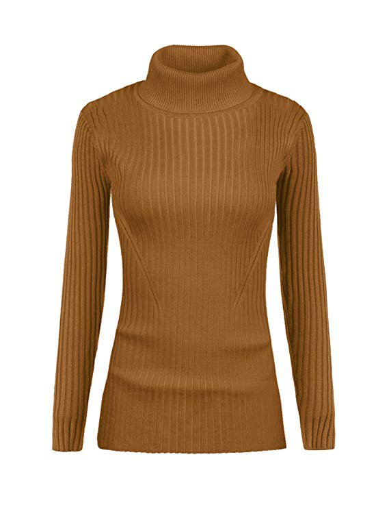 v28 Women Stretchable Turtleneck Knit Long Sleeve Slim Fit Sweater at Amazon Women's Clothing store
