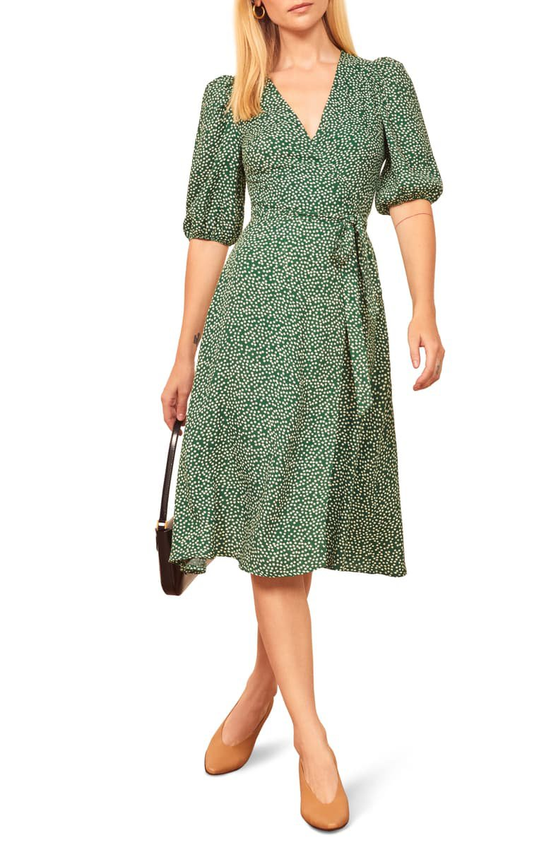 Reformation Christa Puff Sleeve Wrap Dress | Nordstrom
