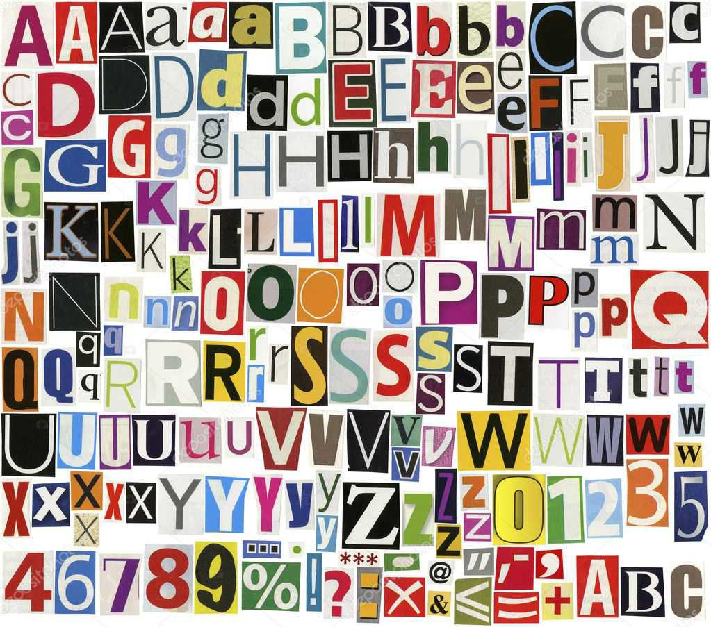 magazine clipping alphabet