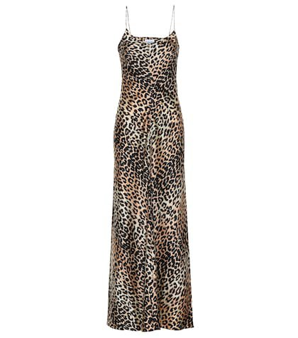Leopard-printed silk slip dress