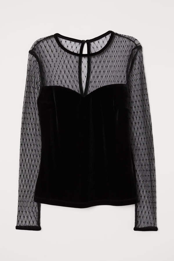 Velour and Mesh Top - Black