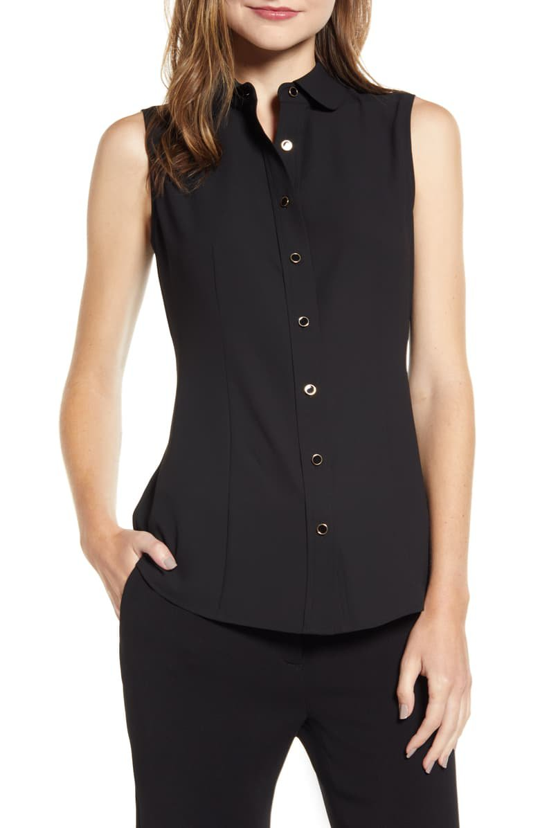 Anne Klein Button Front Sleeveless Blouse | Nordstrom