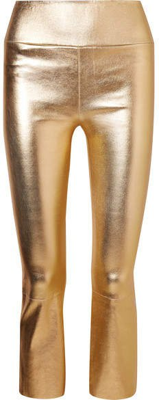 Cropped Metallic Leather Flared Pants - Gold